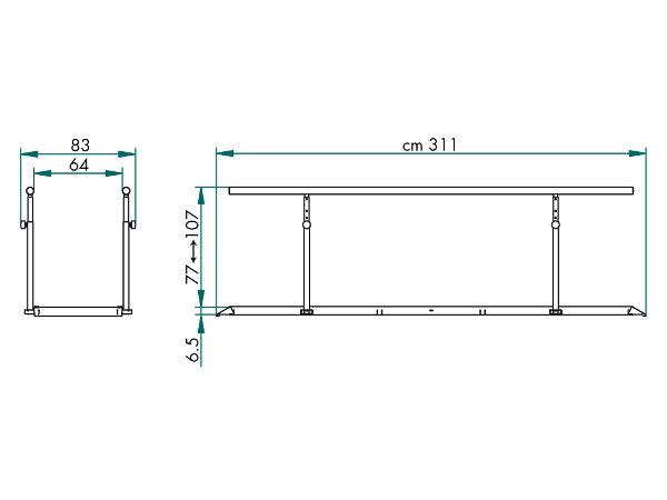 25470 Parallel Bars Standard Fysiomed